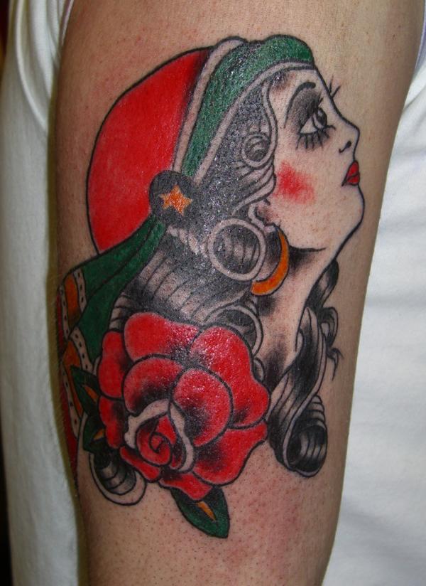 gypsy tattoo. Tattoos by Darryl Gates